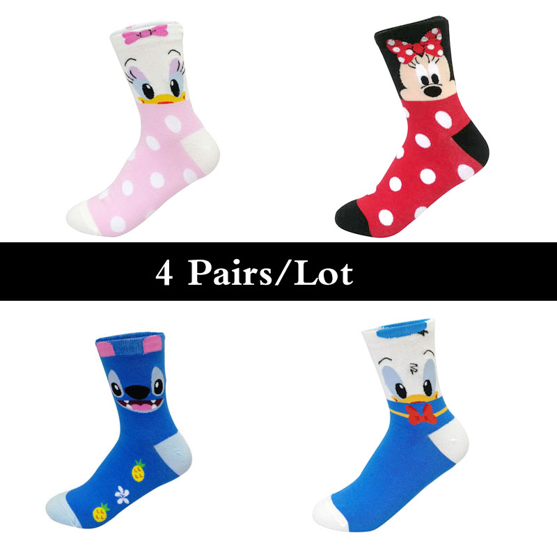 Hd7791b230f214ca09d0a04c78cf84158X - Disney 5 Pairs/Lot Casual Cute women Scoks Cartoon animal Mickey Mouse Donald Duck invisible ankle Socks Cotton happy Funny sock
