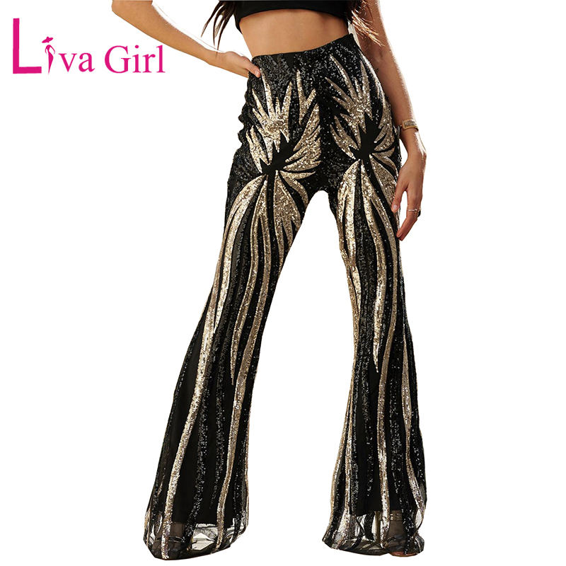 LIVA GIRL Glitter Black/Apricot Women Sequin Trousers High Waist Sequin Flared Pant Female Dance Party Wide Leg Long Pants S-XL