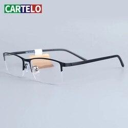 CARTELO Women Men Half Rimless Metal Eyeglasses Frame Myopia Glasses Optical Eyewear Half Rim Fake Glasses Frame New Fashion