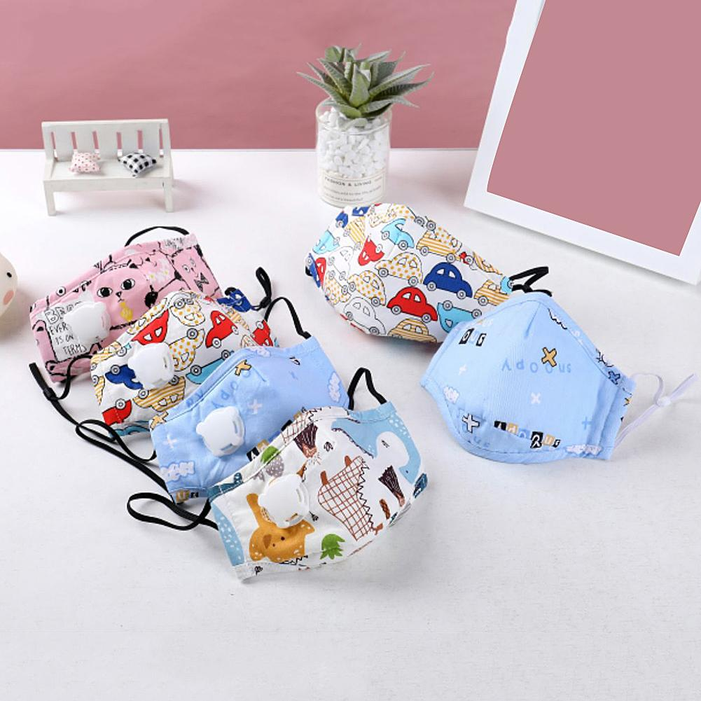 Children Anti Haze Cartoon Print Cotton Mouth Mask With Filter Air Breather Safe Disinfection Protection Against Viruses