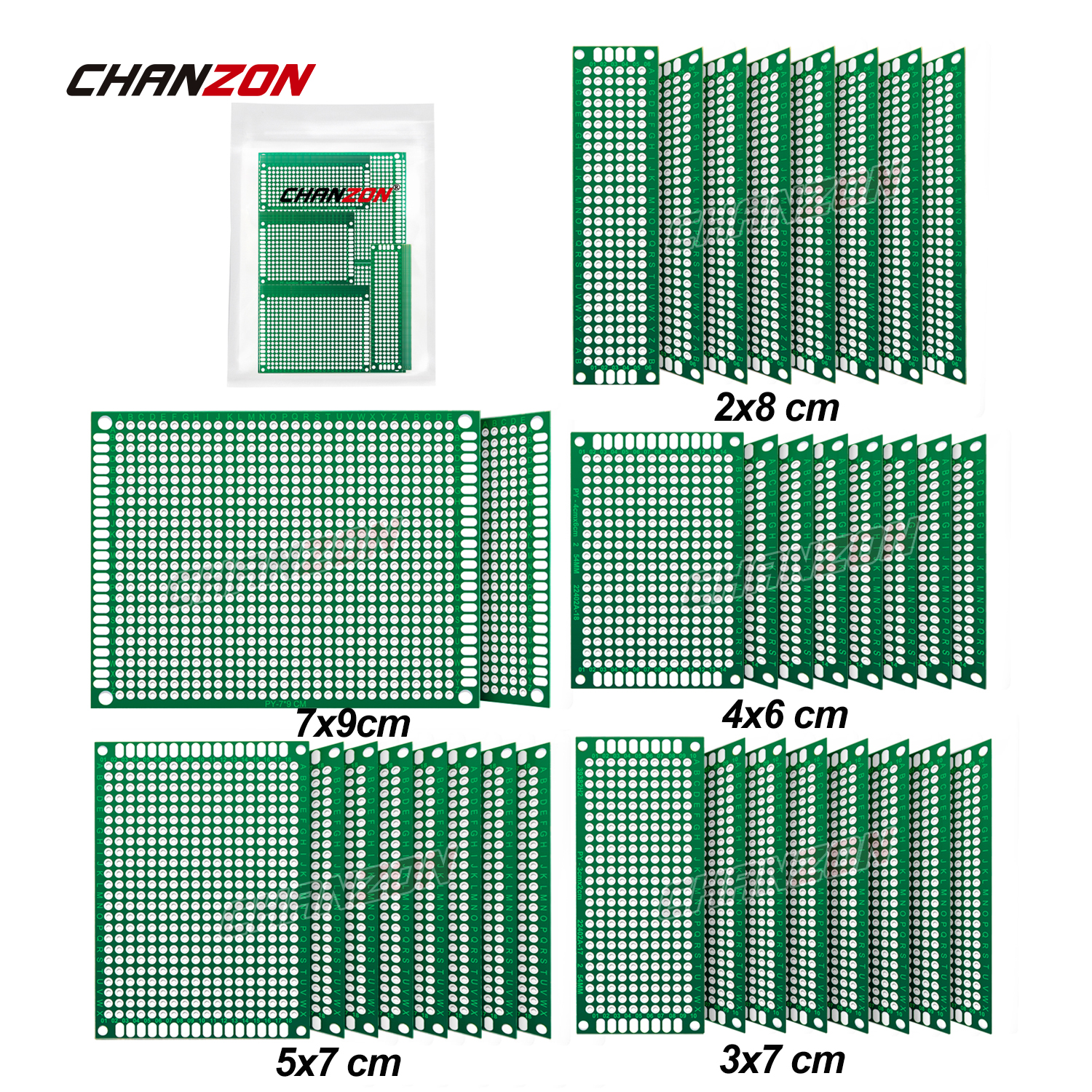 34 Pcs Double Sided PCB Board Tinned ( 2X8 3X7 4X6 5X7 7x9 cm ) Prototype Kit FR4 Printed Universal Circuit Perfboard for DIY