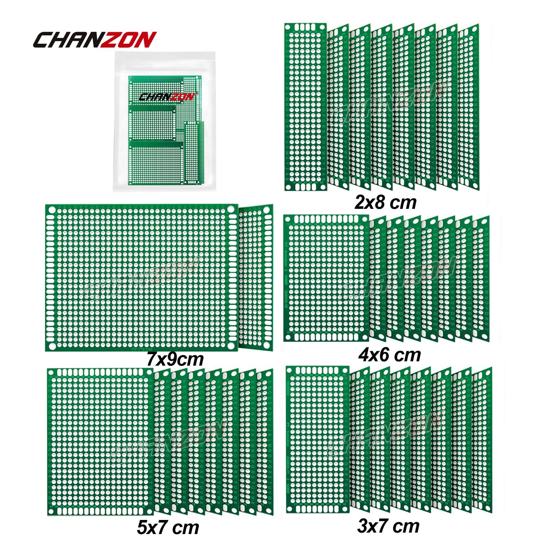 34 pces dupla face pcb placa estanhada (2x8 3x7 4x6 5x7 7x9 cm) protótipo kit fr4 impresso circuito universal perfboard para diy