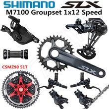 Shimano deore slx m7100 groupset 32t 34t 36t 170 175mm manivela mountain bike groupset 1x12 speed csmz90 m7100 desviador traseiro