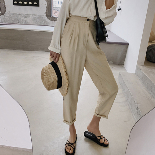 Cotton Linen Women Trousers High Waist Loose White Pant Summer Comfy Linen Trousers
