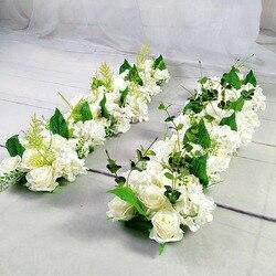 Estrada do casamento de luxo citou flores de seda rosa peônia hortênsia diy porta arqueada linha flor janela t estação decoração casamento 50cm