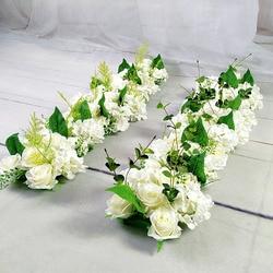 Lüks düğün yol alıntı çiçekler ipek gül şakayık ortanca DIY kemerli kapı çiçek sıra pencere T istasyonu düğün dekorasyon 50cm