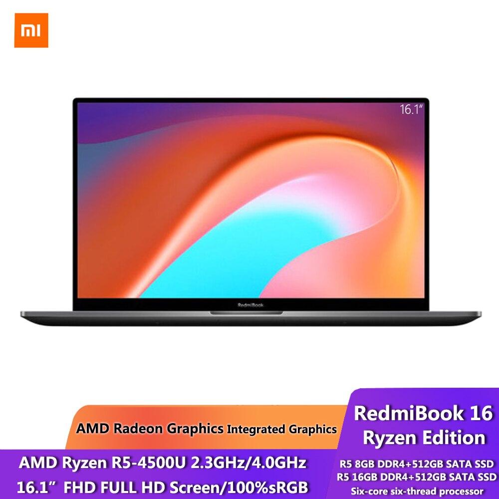 Xiaomi RedmiBook 16 Ryzen Edition Laptop AMD R5 4500U 8 16GB DDR4 512GB 100percent sRGB 16 1 Inch Display 1080P Screen Window 10