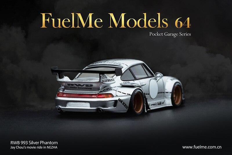 modelo carro resina phantiom prata rwb 993 fuelme 164 04