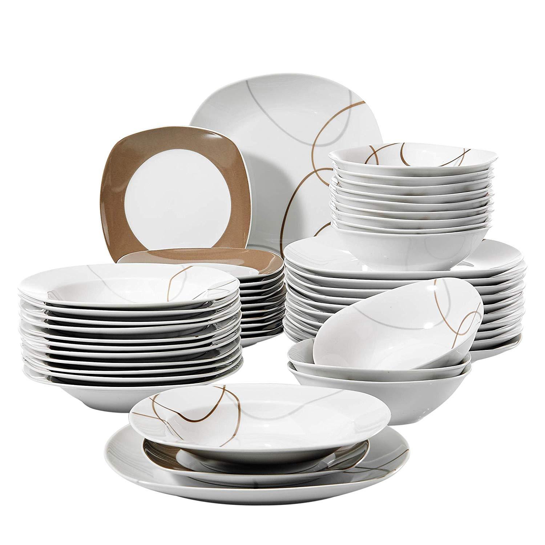 VEWEET NIKITA ensemble de vaisselle en porcelaine | Ensemble de vaisselle avec bols, assiette à Dessert, assiettes à soupe, assiette à dîner de cuisine, 24 pièces