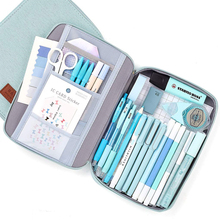 Litthing Capacity Canva Storage Pouch Marker Pen Pencil Case Stationery Bag Holder For Middle High School Office College Student 1 pcs multifunction large capacity marker case holder canvas pen bag pencil case stationary storage bag black folding marker pen