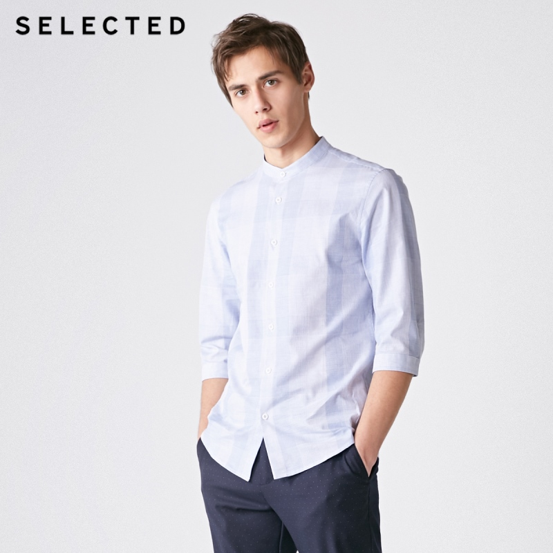 SELECTED Men's Cotton Plaid Stand-up Collar Slim Casual Cropped Slim Fit 3/4 Sleeves Shirt S|419131505