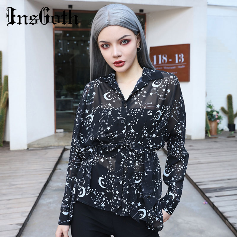 InsGoth Women Black Shirts Gothic Starry Sky Printed Witch Blouses Lolita Streetwear Female Casual Loose See-through Long Shirt
