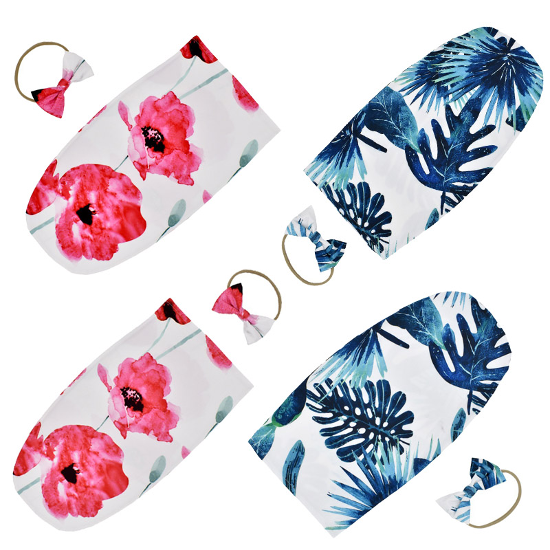 Newborn Infant Baby Sleeping Bag Flower Print Baby Girl Swaddle Wrap  Anti-Kick With Knotted Hair Band Baby Envelope Blanket