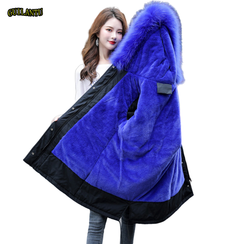 Grande taille 6xl hiver veste femmes épaisse laine doublure coton rembourré vestes Outwear fourrure col à capuche manteau femme Parka Mujer 2019