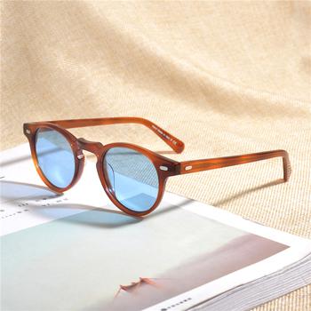 Gregory Peck Vintage polaryzacyjne okulary przeciwsłoneczne OV5186 przezroczysta oprawa markowe okulary przeciwsłoneczne projektant mężczyźni kobiety OV 5186 Gafas óculos z etui tanie i dobre opinie Schever CN (pochodzenie) WOMEN ROUND Dla osób dorosłych Z OCTANU UV400 43mm Grgeory Peck 47mm Original Case+Cleansing Cloth