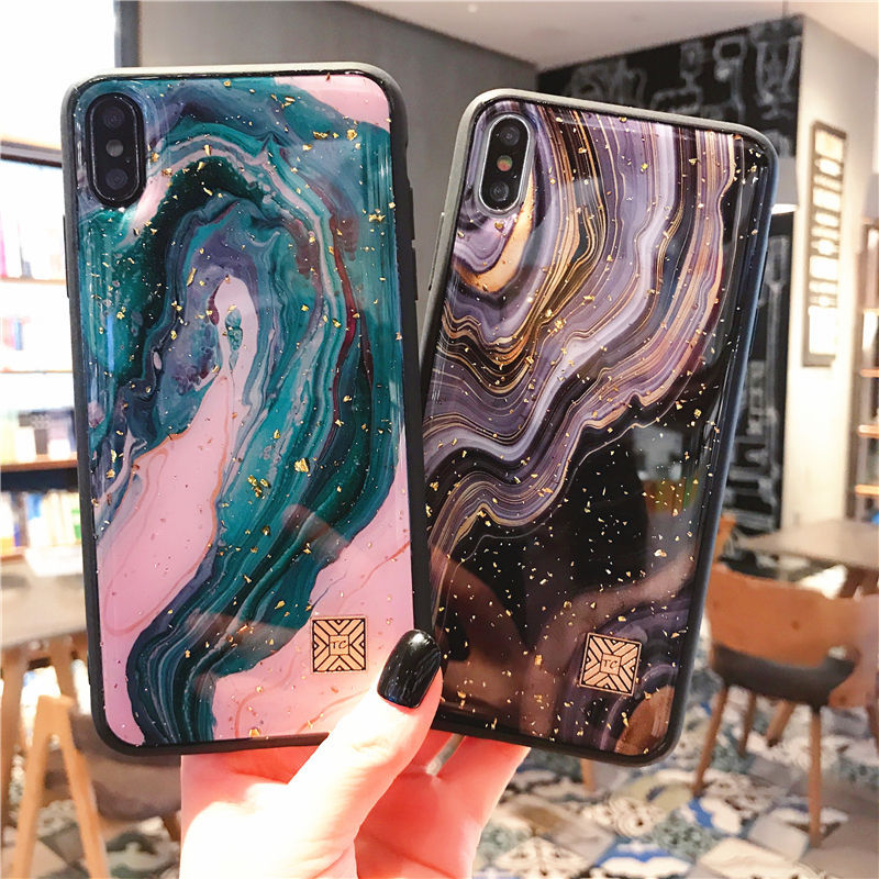 Gold Foil Marble Phone Case For iPhone 11 ProMax XS Max XR X 7 8 6 6S Plus Starry Sky Glitter Soft Silicone Cover For iPhone 11(China)