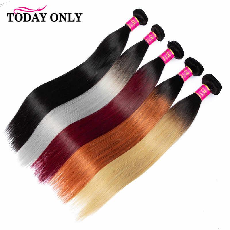 Hari Ini Hanya 1/3/4 Bundel Peru Rambut Lurus Bundel Remy Rambut Manusia Bundel Ombre Madu Rambut Pirang Merah Marun 1B Warna 613 Bundel