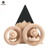 Let's Make Baby Wooden Rattle Bed Bell Wooden Ring 70mm/80mm Beech Wood Smiley Face 1PC Educational Toys Rattles For Newborns