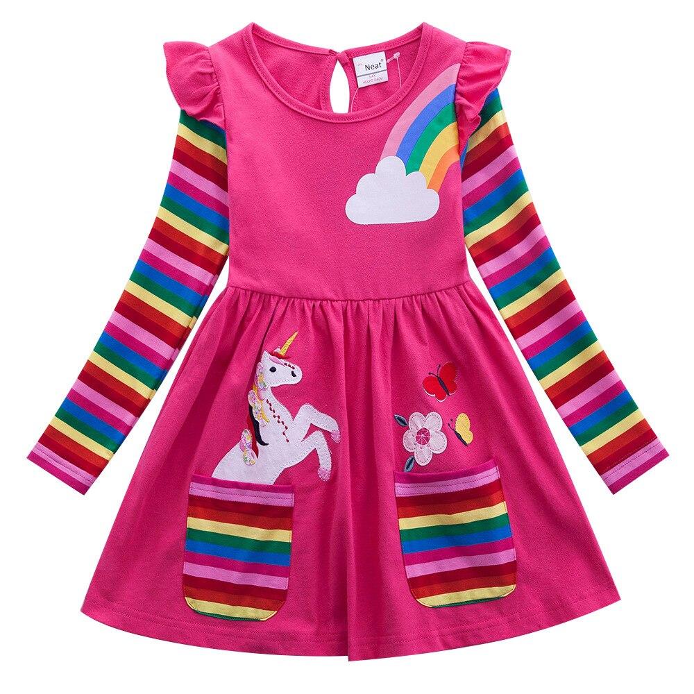Платье с длинными рукавами и героями мультфильмов для девочек, хлопковая вышитая фигура, осеннее платье LH3660