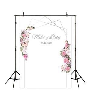 Image 5 - Allenjoy photography backdrops floral golden frame wedding Valentine 14 february flower photocall custom background photophone