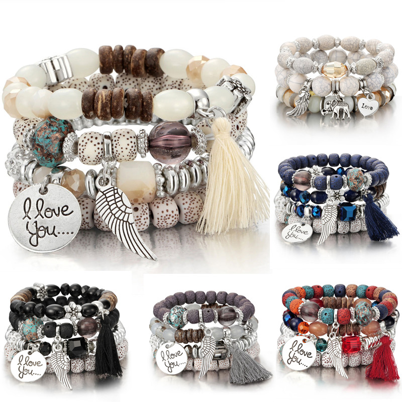 4pcs set Fashion Multilayer Crystal Lava Stone Beads Wing Tassel Bracelets Bangles Pulseras Mujer Jewelry for