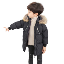 2019 Winter Boys Coat Warm Fur Collar Hooded Duck Down Jacket For Girls Childrens Clothes Thicken Long Snow Wear Snowsuit