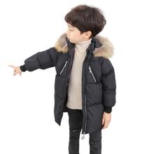 2019 Winter Boys Coat Warm Fur Collar Hooded Duck Down Jacket For Girls Children's Clothes Thicken Warm Long Snow Wear Snowsuit