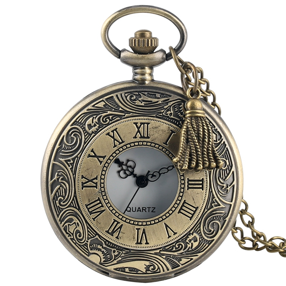 Hollow Roman Number Pocket Watch Vintage Alloy Steampunk Bronze Pendant Necklace Chain Quartz Pocket Watch With Tassel Accessory