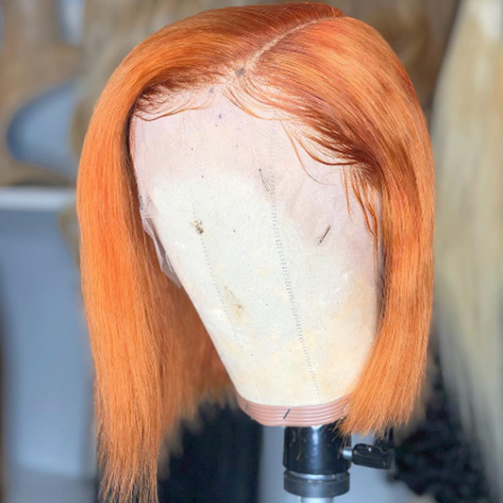 Short bob Copper Orange Colored 13*4 Lace Front Natural synthetic Wigs Short Bob Light Orange colored For Black Women