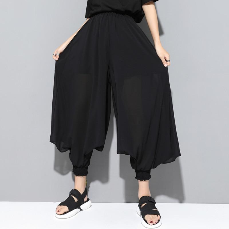 Summer New Style Women's Clothing Diablo Series Elastic Waist Harem Pants Plus-sized Chiffon Cool Harem Pants