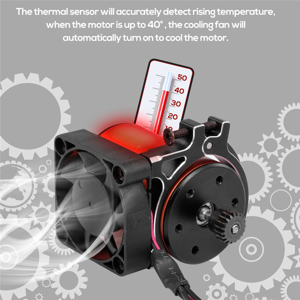 RC Car Motor Heatsink Cooling Fan with Thermal Sensor CNC Aluminum Alloy Clamp Heatsink for 4268 4274 Motors 1/8 1/10 Buggy Cars enlarge