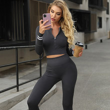 Frauen Yoga Anzüge 2 Pcs Sexy Langarm Top Mit Zipper Laufsport Anzug Atmungsaktiv Fitness Set Energie Nahtlose Gym setzt Neue
