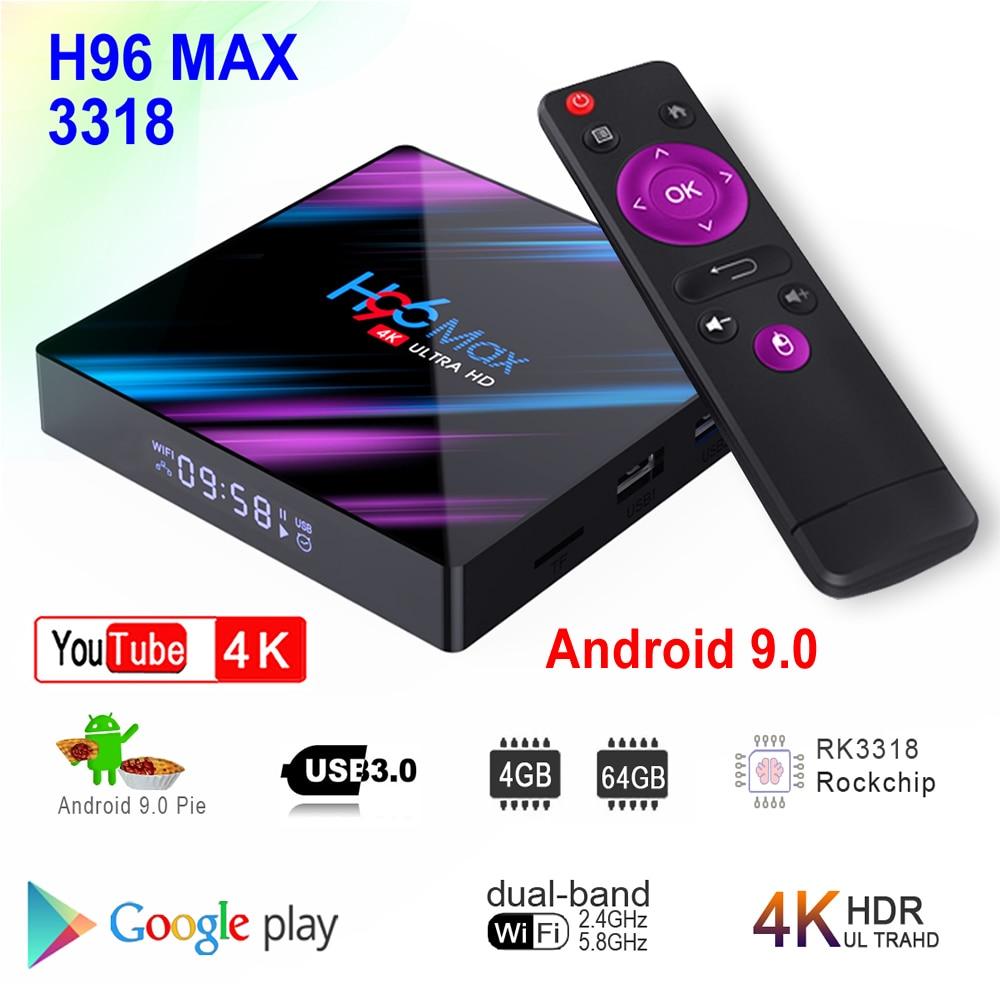 H96 MAX 3318 Android 9.0 Smart TV Box Rockchip RK3318 4GB RAM 64GB ROM BT4.0 USB3.0 2,4G 5G Dual WIFI 3D 4K HDR Media Player
