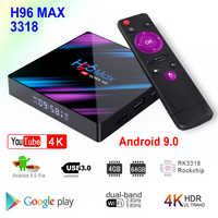 H96 max 3318 android 9.0 smart tv caixa rockchip rk3318 4 gb ram 64 gb rom bt4.0 usb3.0 2.4g 5g duplo wifi 3d 4 k hdr media player