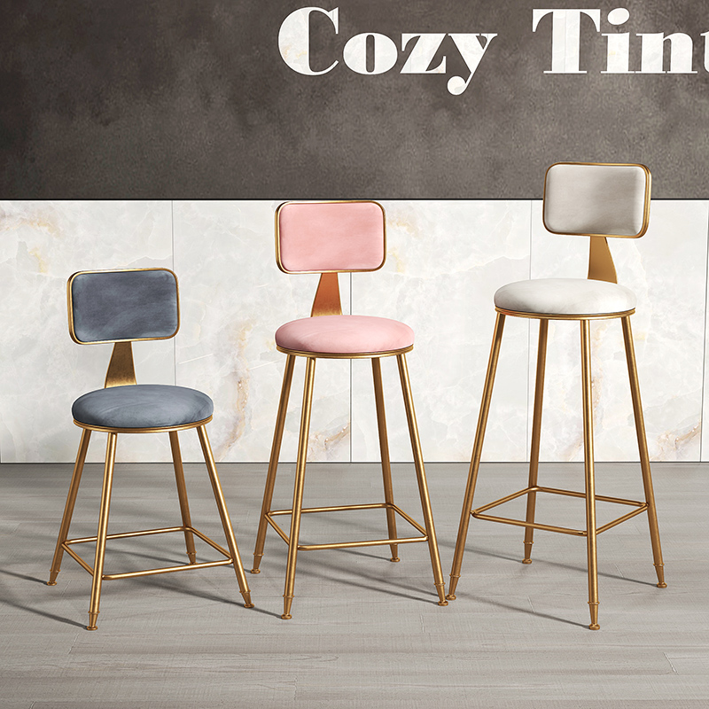 European Light Luxury Bar Chair Simple Net Red Bar Stool Front Coffee Restaurant Leisure Back High Stool Fauteuil Long De Bars