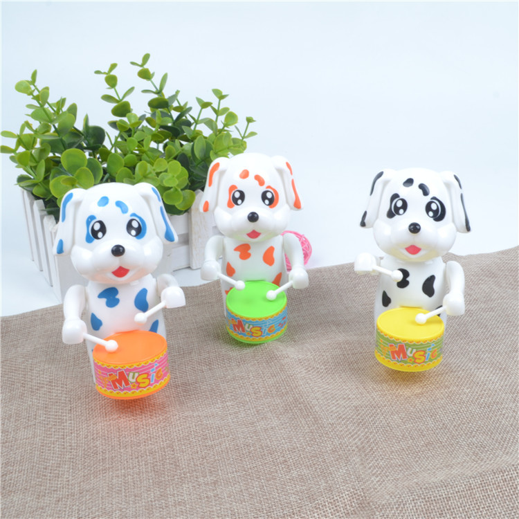 Winding Drum Dog Spring Cartoon Animal Hot Selling Children'S Educational Plastic Wind-up Toy Stall Night Market