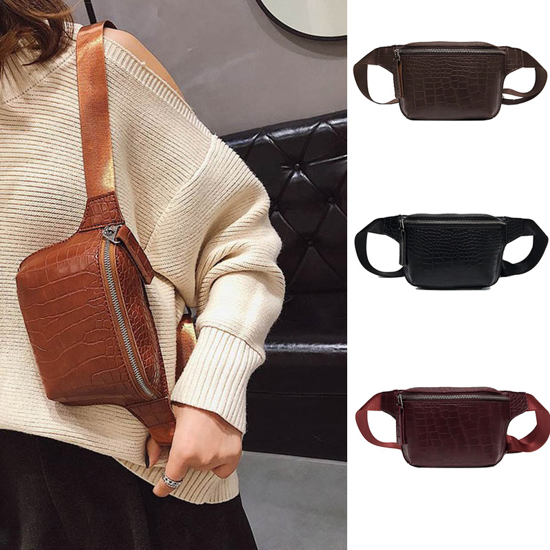 Women Crocodile Waist Belt Bag Luxury PU Leather Fanny Pack Fashion Female Chest Bags Mini Design Clutch Girl Belly Bag Purse