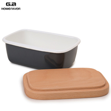 G.a HOMEFAVOR Butter Box Dishes Enamel Container Plates Tray Wooden Lid Cover Black White Storage High Quality