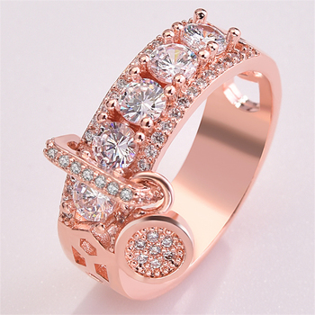 14K Rose Gold Round Diamond Ring for Women Gift Fashion Anillos Wedding Gemstone Bizuteria 925 Sliver Topaz Rings Fine Jewelry