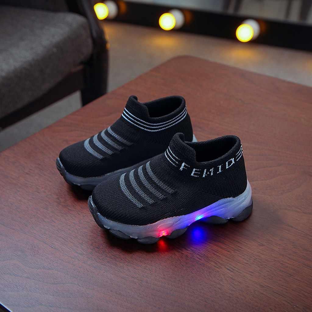 Dla dzieci dla dzieci dziewczyny chłopcy list Mesh Led Luminous skarpety sportowe buty sportowe do biegania buty w stylu casual chaussure enfant zapatos # XX30