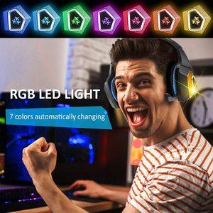 Image 5 - Gaming Headset Stereo Umgeben Tiefe Bass LED Licht Kopfhörer Über Ohr Kopfhörer mit Licht für LOL PC Laptop Gamer