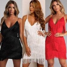 2020 new Sexy Deep V Neck Spaghetti Strap Backless Bodycon Dress Summer Fringe Tassel Nightclub Party Dress Vestidos hot