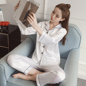 Image 3 - גדול גודל 5XL נשים משי פיג מה סטי סאטן הלבשת ארוך שרוול פיג מה אופנה פיג מה עבור ילדה Nightwear חליפת בית