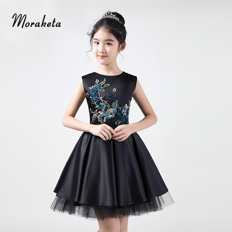 Satin Black Girls Pageant Dresses Short 2019 Little Girls Ball Gown Dresses With Luxury Appliques  For Formal Evening