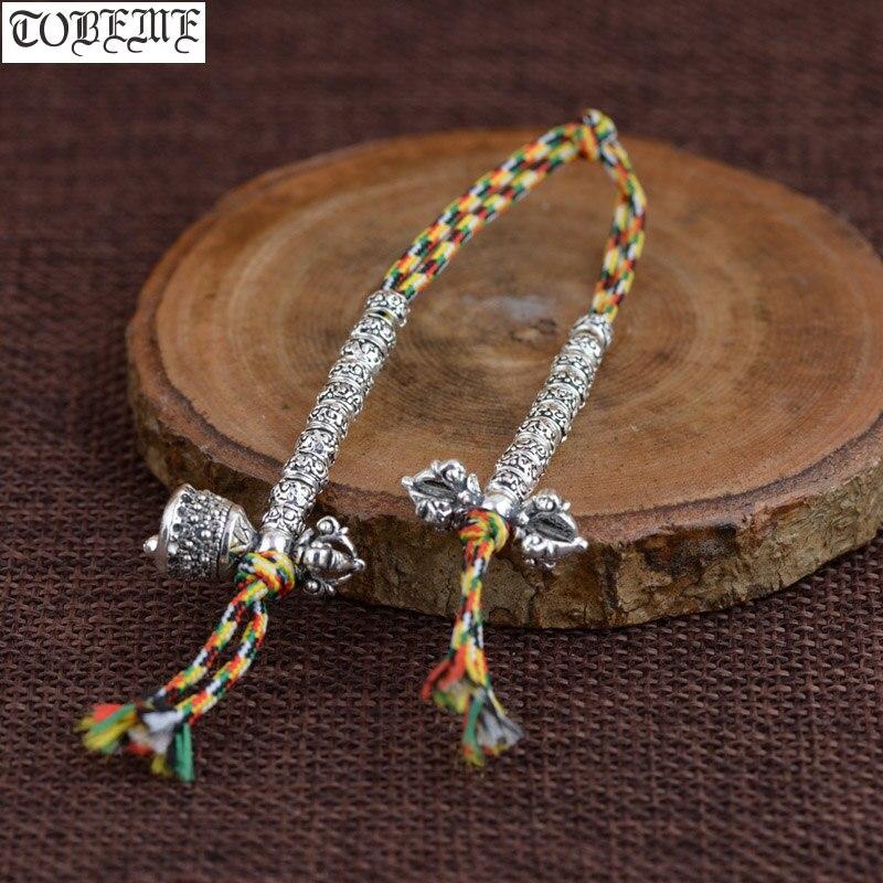 100% Серебро 925 пробы тибетские счетчики малы дорье колокольчики 925 пробы буддийские молитвенные бусы счетчики буддистские четки