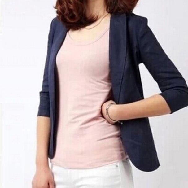Summer Women Slim Blazer Coat 2020 Plus Size 3XL Casual Jacket One Button Suit Tops Lady Linen Blazers Work Wear LX1752