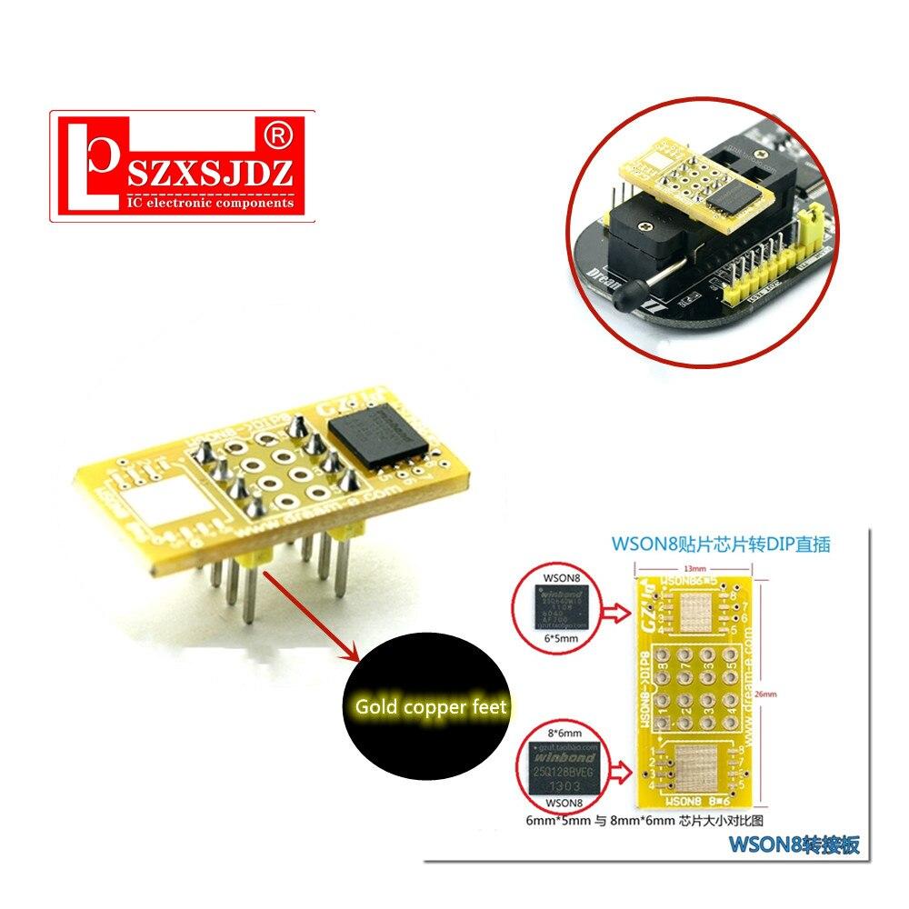 QFN8 to DIP8 Adapter adaptador programmer WSON8 DFN8 MLF8 QFN8 to DIP8 socket for 25xxx 8x6mm 6x5mm wson8 spi8 adapter socket