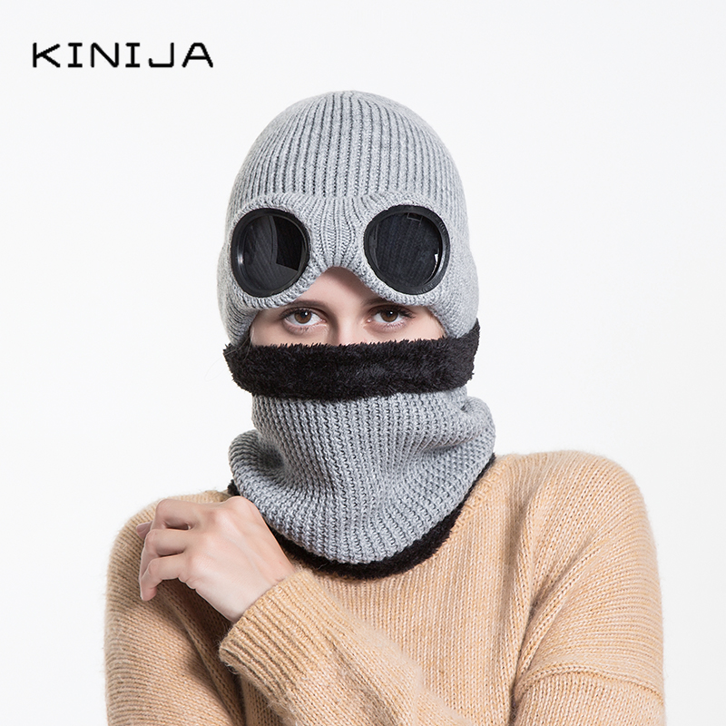 Windproof Glasses Hat Scarf Set Outdoor Cycling Thicken Velvet Thick Winter Wool Hat Knitted Neck Warmer Cap Ski Protective Hat