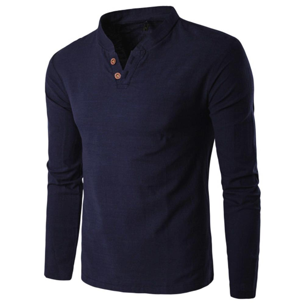 Men Chinese Style V-Neck Long Sleeve Stand Collar Cotton Linen 2020 New Fashion Shirt Top