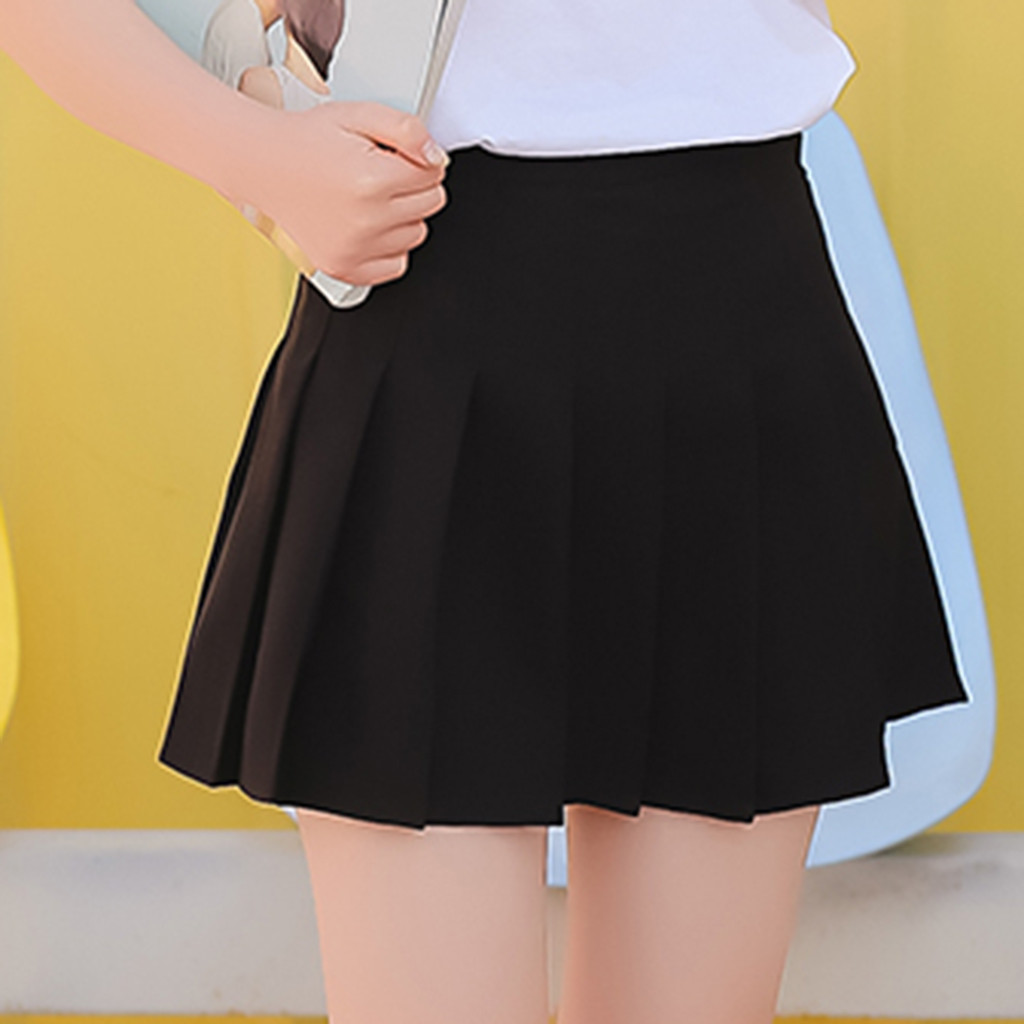 Harajuku Skirt Korea School Women Female Skirt High Waist Women Solid Mini Skirt Womens Pleated High Waist Skirts L2